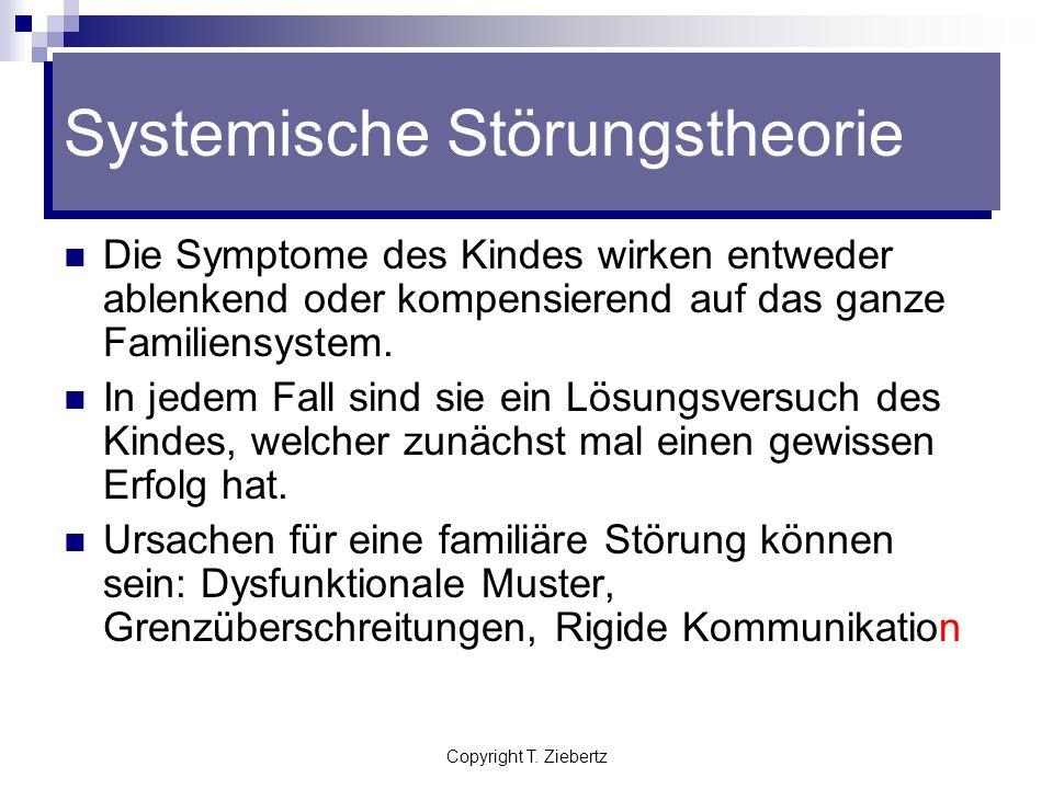 Copyright T. Ziebertz Systemische Störungstheorie Die Störung eines Familienmitgliedes ist nicht Ausdruck eines individuellen Problems, sondern Ausdru