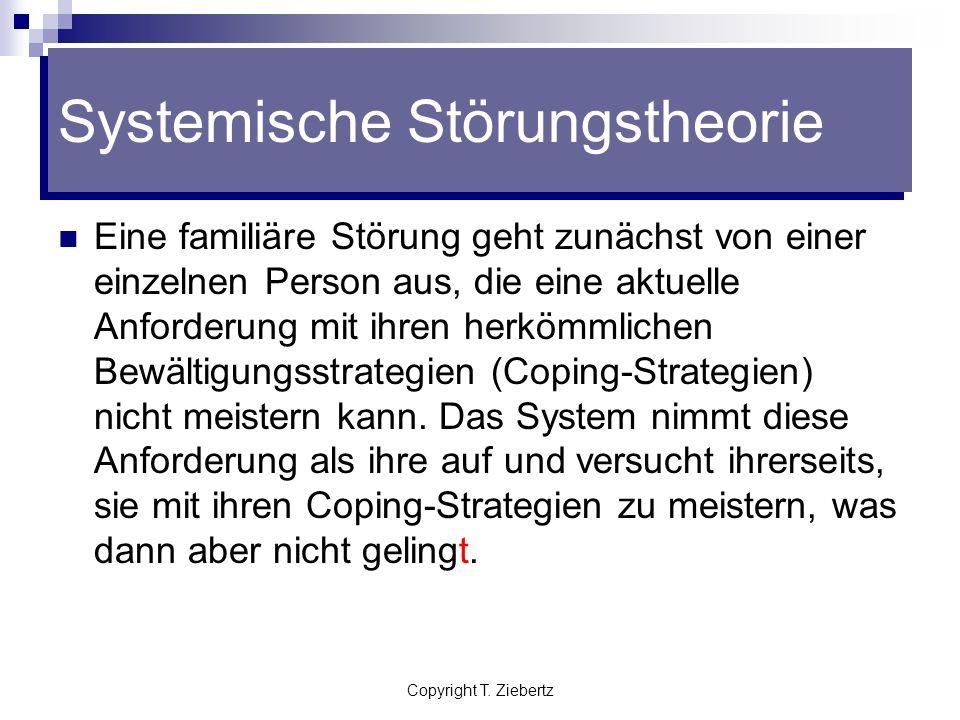 Copyright T. Ziebertz Systemische Störungstheorie Die Symptome des Kindes wirken entweder ablenkend oder kompensierend auf das ganze Familiensystem. I