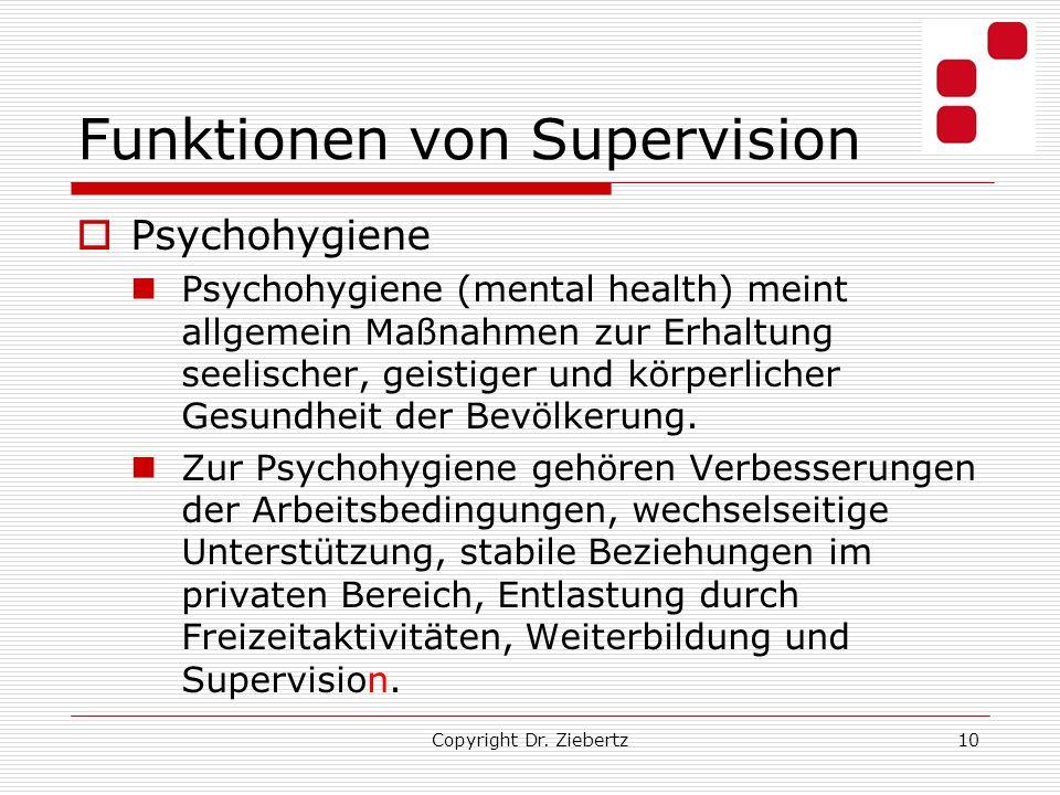 Funktionen von Supervision Psychohygiene Psychohygiene (mental health) meint allgemein Maßnahmen zur Erhaltung seelischer, geistiger und körperlicher Gesundheit der Bevölkerung.