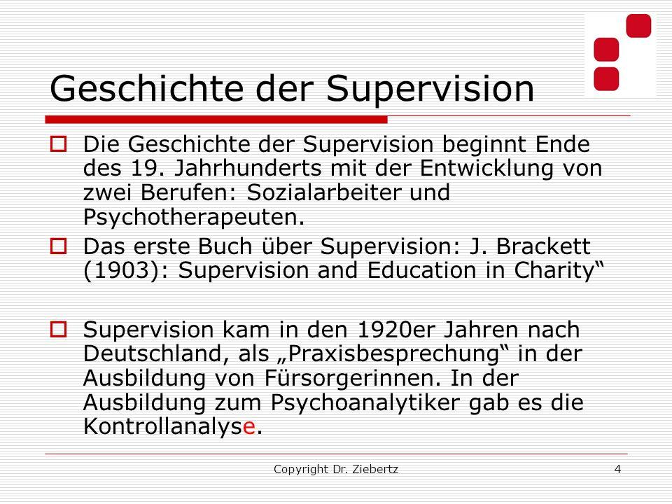 Geschichte der Supervision Die Geschichte der Supervision beginnt Ende des 19. Jahrhunderts mit der Entwicklung von zwei Berufen: Sozialarbeiter und P