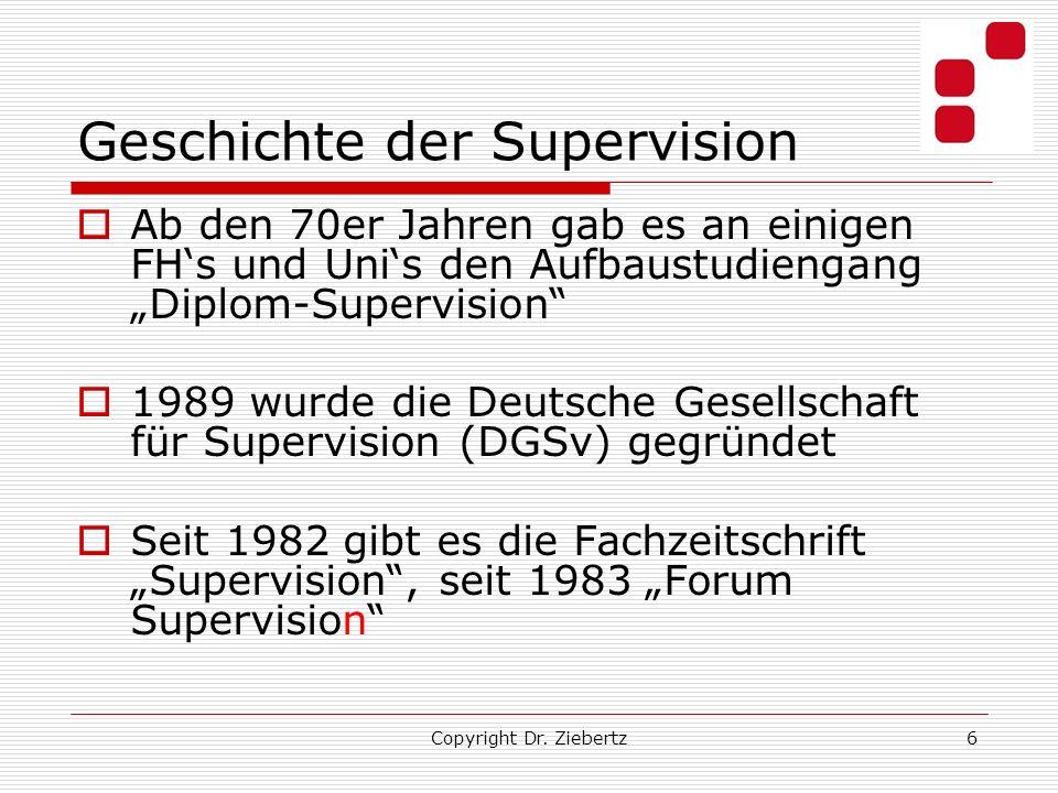6 Geschichte der Supervision Ab den 70er Jahren gab es an einigen FHs und Unis den Aufbaustudiengang Diplom-Supervision 1989 wurde die Deutsche Gesellschaft für Supervision (DGSv) gegründet Seit 1982 gibt es die Fachzeitschrift Supervision, seit 1983 Forum Supervision