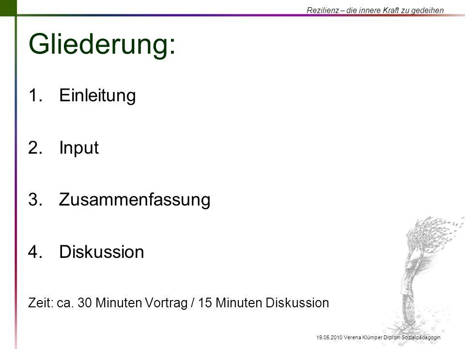 Rezilienz – die innere Kraft zu gedeihen 19.05.2010 Verena Klümper Diplom Sozialpädagogin Gliederung: 1.Einleitung 2.Input 3.Zusammenfassung 4.Diskuss