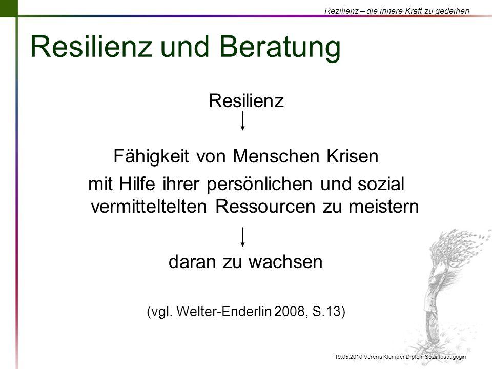Rezilienz – die innere Kraft zu gedeihen 19.05.2010 Verena Klümper Diplom Sozialpädagogin Resilienz und Beratung Resilienz Fähigkeit von Menschen Kris