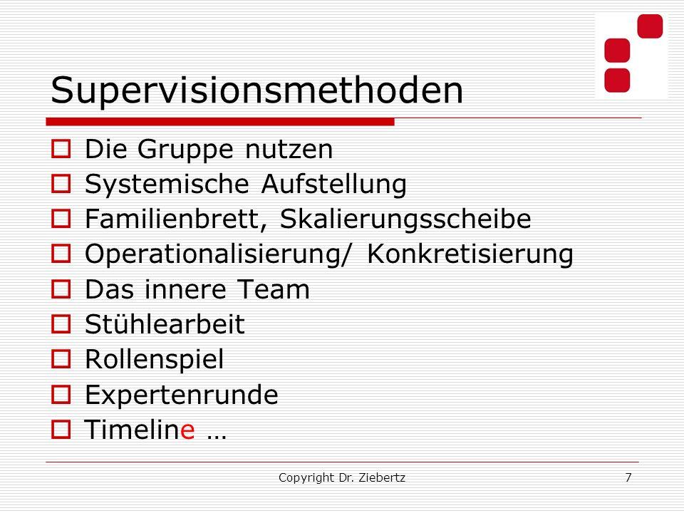 Copyright Dr. Ziebertz7 Supervisionsmethoden Die Gruppe nutzen Systemische Aufstellung Familienbrett, Skalierungsscheibe Operationalisierung/ Konkreti
