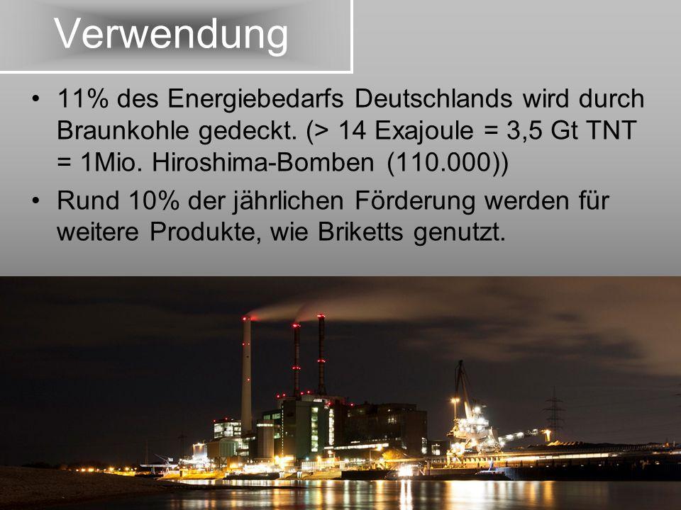 Verwendung 11% des Energiebedarfs Deutschlands wird durch Braunkohle gedeckt. (> 14 Exajoule = 3,5 Gt TNT = 1Mio. Hiroshima-Bomben (110.000)) Rund 10%