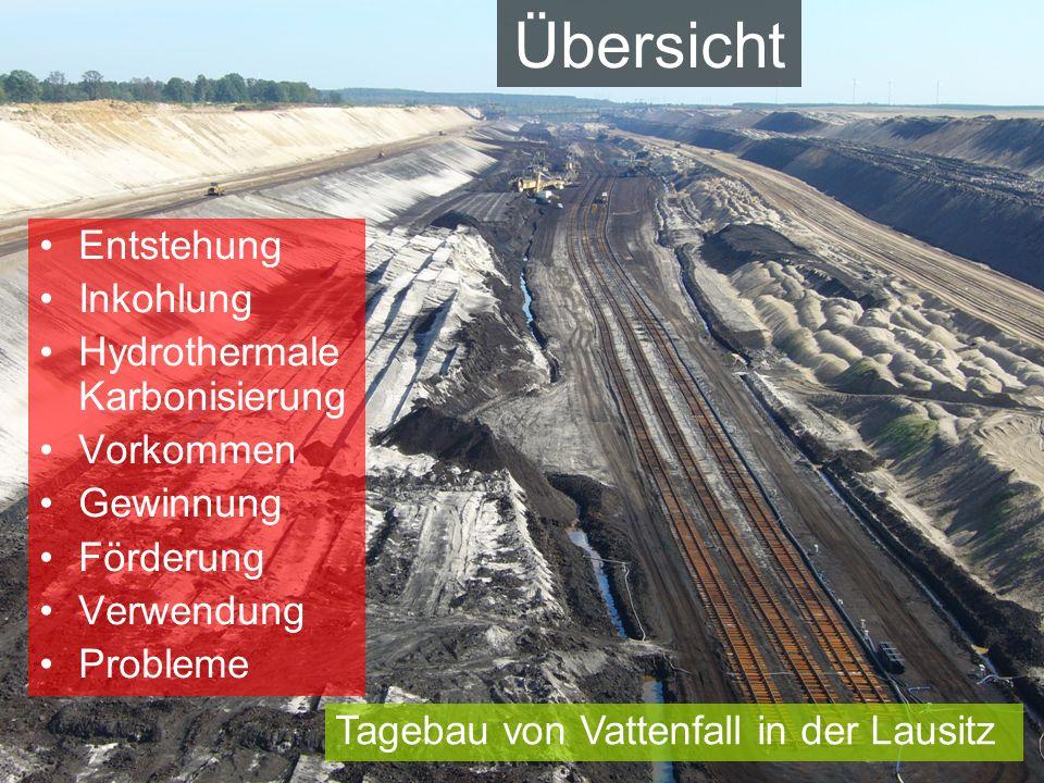 Übersicht Entstehung Inkohlung Hydrothermale Karbonisierung Vorkommen Gewinnung Förderung Verwendung Probleme Tagebau von Vattenfall in der Lausitz