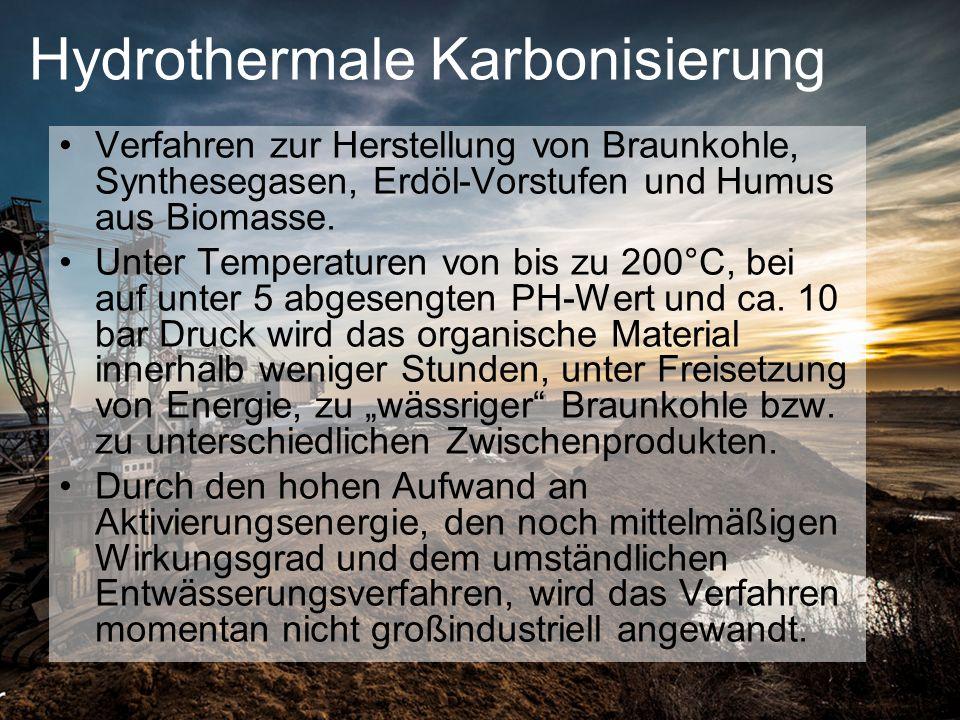 Hydrothermale Karbonisierung Verfahren zur Herstellung von Braunkohle, Synthesegasen, Erdöl-Vorstufen und Humus aus Biomasse. Unter Temperaturen von b