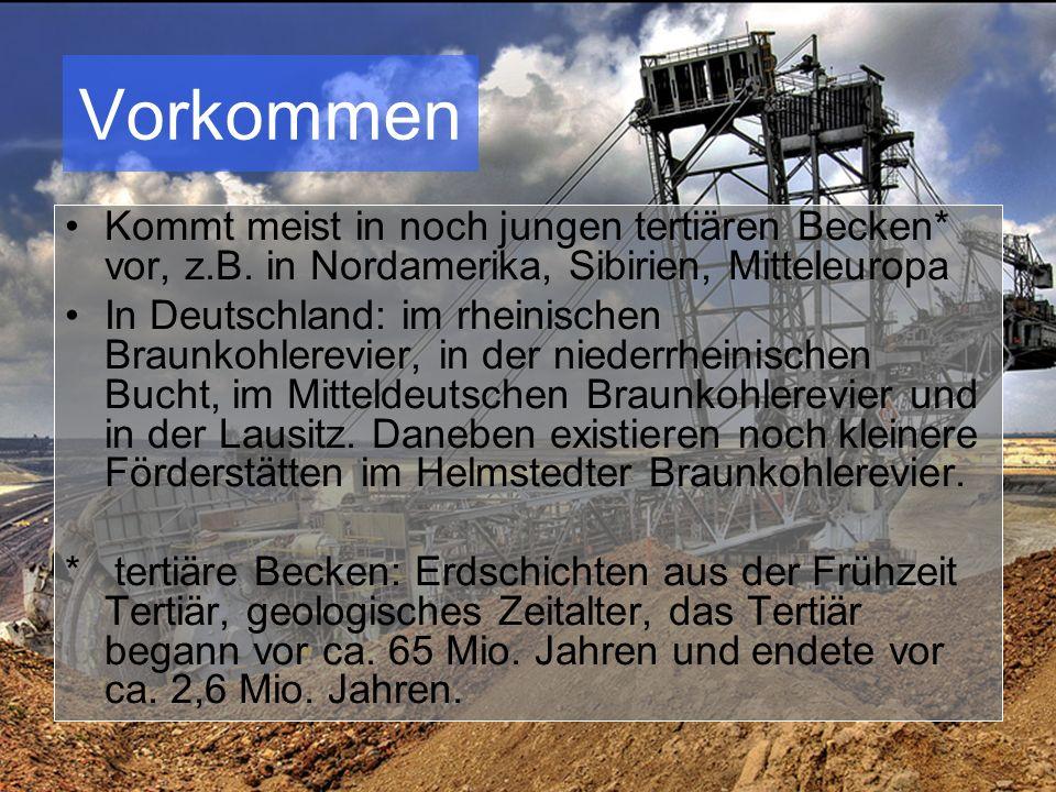 Gewinnung Hauptsächlich im Tagebauverfahren gefördert, im Gegensatz zu Steinkohle.