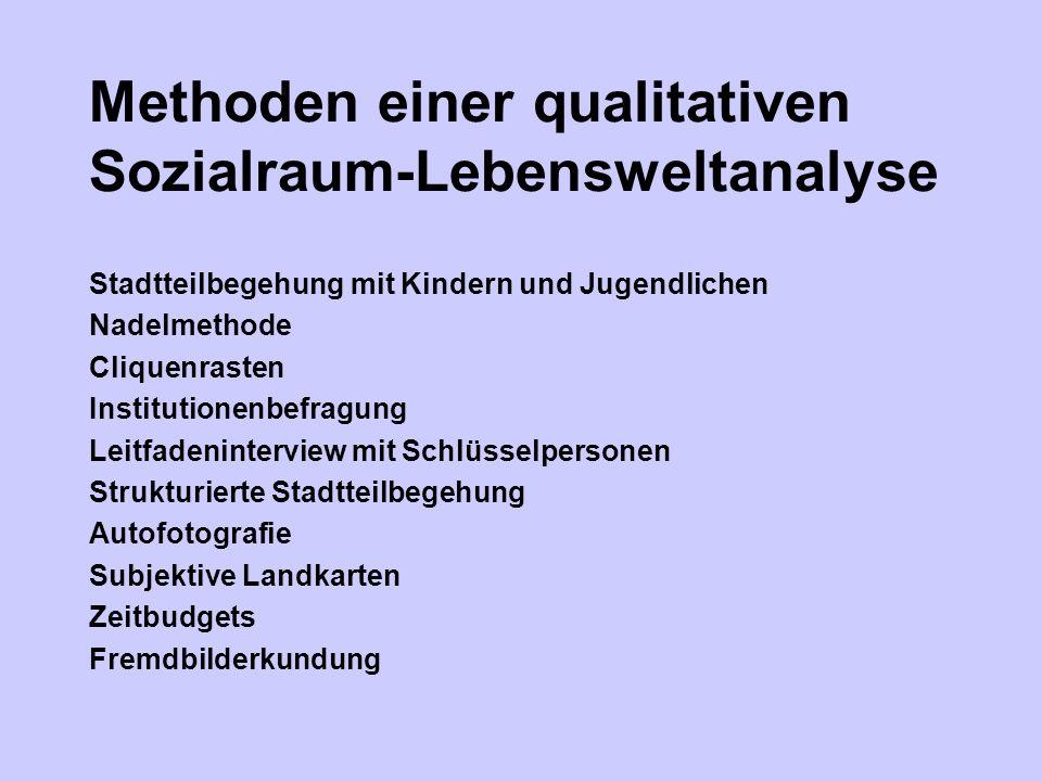 Methoden einer qualitativen Sozialraum-Lebensweltanalyse Stadtteilbegehung mit Kindern und Jugendlichen Nadelmethode Cliquenrasten Institutionenbefrag