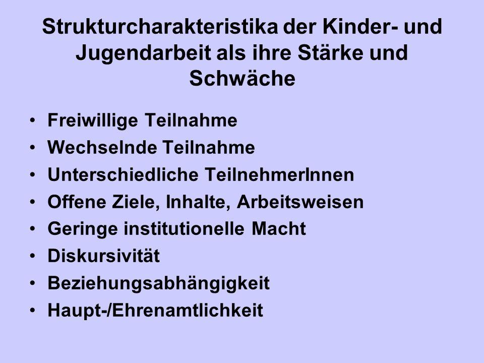 Strukturcharakteristika der Kinder- und Jugendarbeit als ihre Stärke und Schwäche Freiwillige Teilnahme Wechselnde Teilnahme Unterschiedliche Teilnehm