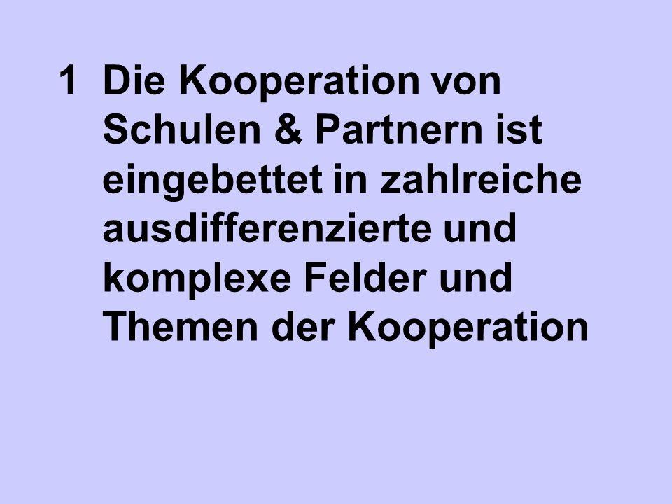 1Die Kooperation von Schulen & Partnern ist eingebettet in zahlreiche ausdifferenzierte und komplexe Felder und Themen der Kooperation