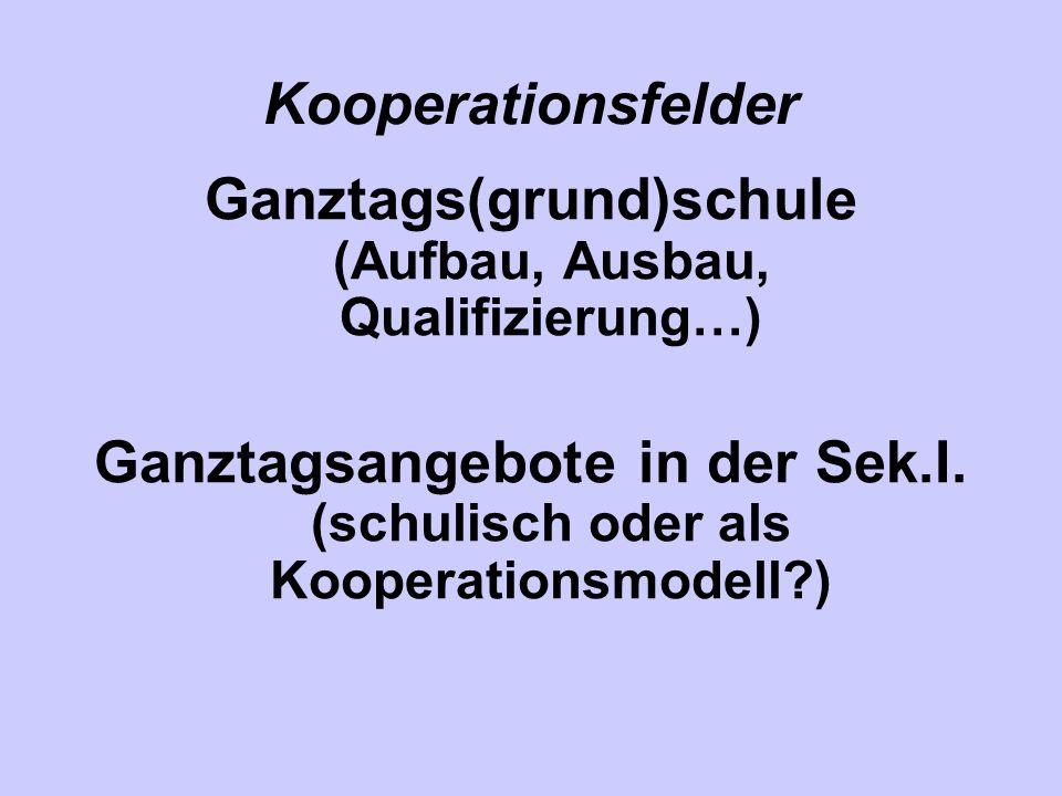 Kooperationsfelder Ganztags(grund)schule (Aufbau, Ausbau, Qualifizierung…) Ganztagsangebote in der Sek.I. (schulisch oder als Kooperationsmodell?)