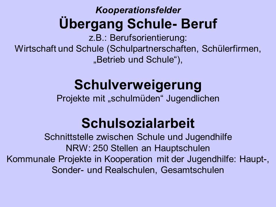 Kooperationsfelder Übergang Schule- Beruf z.B.: Berufsorientierung: Wirtschaft und Schule (Schulpartnerschaften, Schülerfirmen, Betrieb und Schule), S