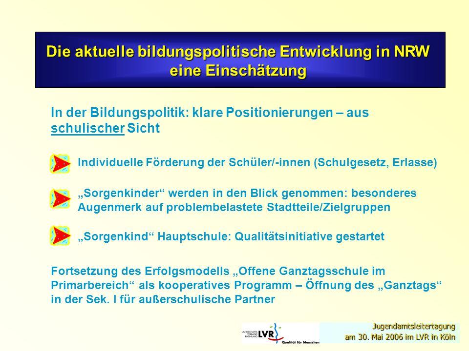 Die aktuelle bildungspolitische Entwicklung in NRW eine Einschätzung In der Bildungspolitik: klare Positionierungen – aus schulischer Sicht Fortsetzun