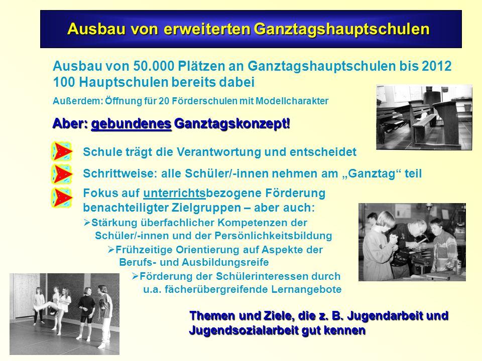 Ausbau von 50.000 Plätzen an Ganztagshauptschulen bis 2012 100 Hauptschulen bereits dabei Außerdem: Öffnung für 20 Förderschulen mit Modellcharakter Themen und Ziele, die z.