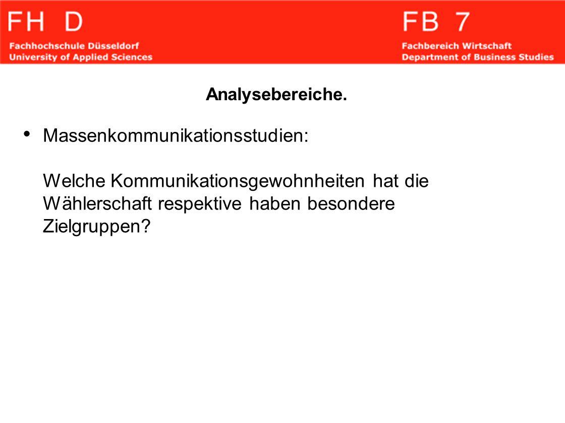 Analysebereiche. Massenkommunikationsstudien: Welche Kommunikationsgewohnheiten hat die Wählerschaft respektive haben besondere Zielgruppen?