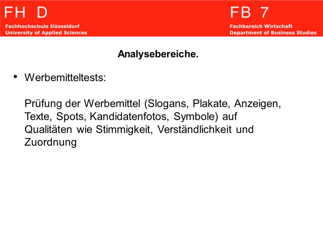 Analysebereiche. Werbemitteltests: Prüfung der Werbemittel (Slogans, Plakate, Anzeigen, Texte, Spots, Kandidatenfotos, Symbole) auf Qualitäten wie Sti