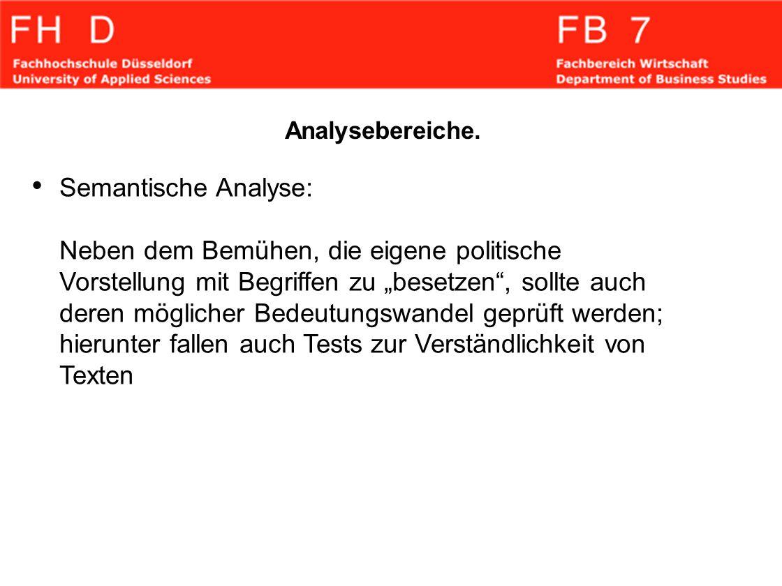 Analysebereiche. Semantische Analyse: Neben dem Bemühen, die eigene politische Vorstellung mit Begriffen zu besetzen, sollte auch deren möglicher Bede