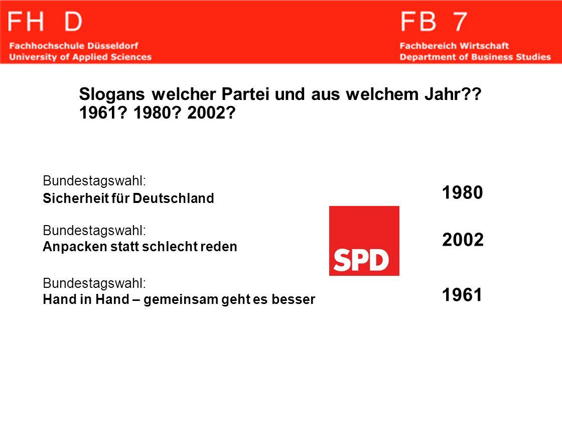 Slogans welcher Partei und aus welchem Jahr?? 1961? 1980? 2002? Bundestagswahl: Sicherheit für Deutschland Bundestagswahl: Anpacken statt schlecht red