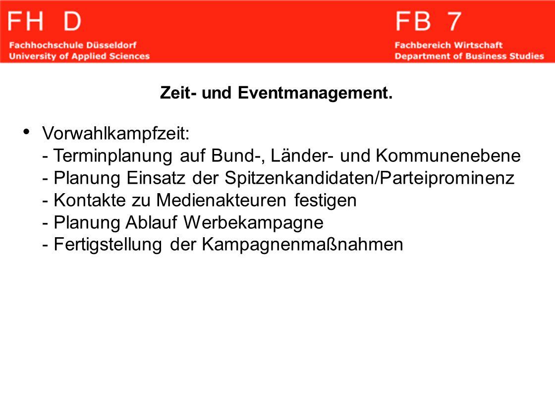 Zeit- und Eventmanagement. Vorwahlkampfzeit: - Terminplanung auf Bund-, Länder- und Kommunenebene - Planung Einsatz der Spitzenkandidaten/Parteipromin