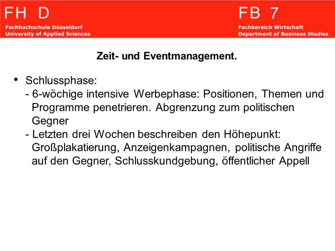 Zeit- und Eventmanagement. Schlussphase: - 6-wöchige intensive Werbephase: Positionen, Themen und Programme penetrieren. Abgrenzung zum politischen Ge