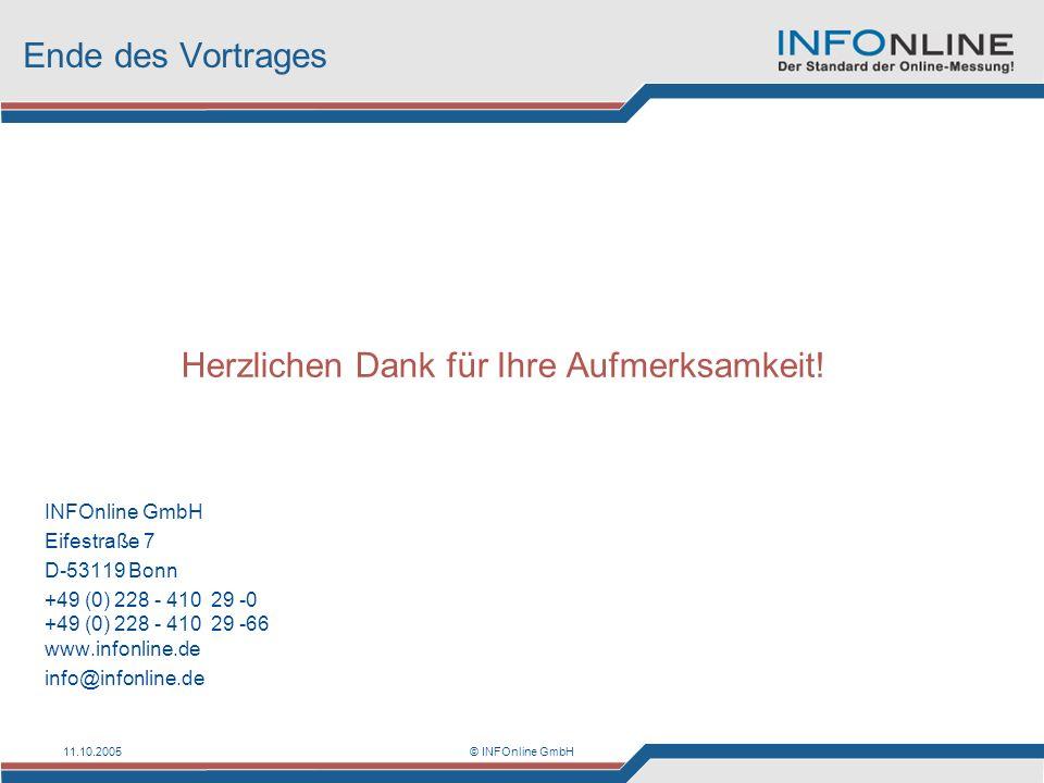 11.10.2005© INFOnline GmbH Ende des Vortrages Herzlichen Dank für Ihre Aufmerksamkeit! INFOnline GmbH Eifestraße 7 D-53119 Bonn +49 (0) 228 - 410 29 -