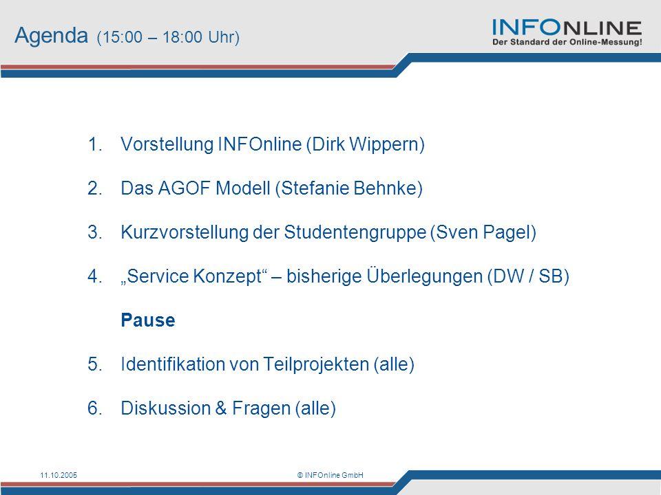 11.10.2005© INFOnline GmbH Agenda (15:00 – 18:00 Uhr) 1.Vorstellung INFOnline (Dirk Wippern) 2.Das AGOF Modell (Stefanie Behnke) 3.Kurzvorstellung der