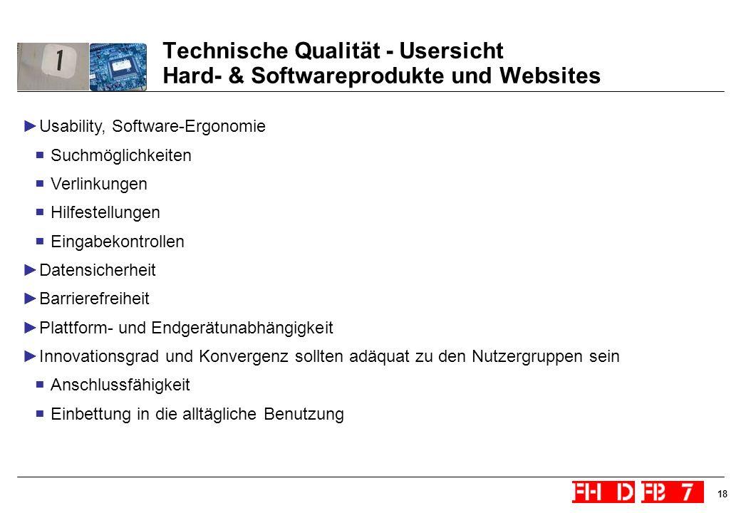 18 Technische Qualität - Usersicht Hard- & Softwareprodukte und Websites Usability, Software-Ergonomie Suchmöglichkeiten Verlinkungen Hilfestellungen