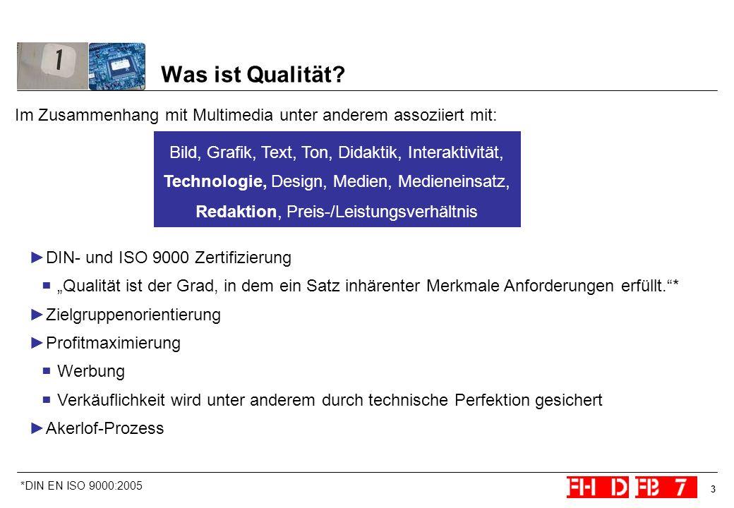 3 Was ist Qualität? Im Zusammenhang mit Multimedia unter anderem assoziiert mit: DIN- und ISO 9000 Zertifizierung Qualität ist der Grad, in dem ein Sa