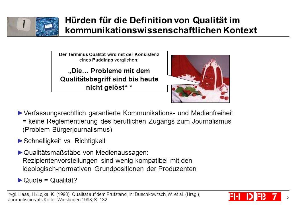 5 Hürden für die Definition von Qualität im kommunikationswissenschaftlichen Kontext Der Terminus Qualität wird mit der Konsistenz eines Puddings verg