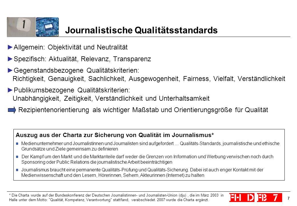 7 Journalistische Qualitätsstandards Allgemein: Objektivität und Neutralität Spezifisch: Aktualität, Relevanz, Transparenz Gegenstandsbezogene Qualitä