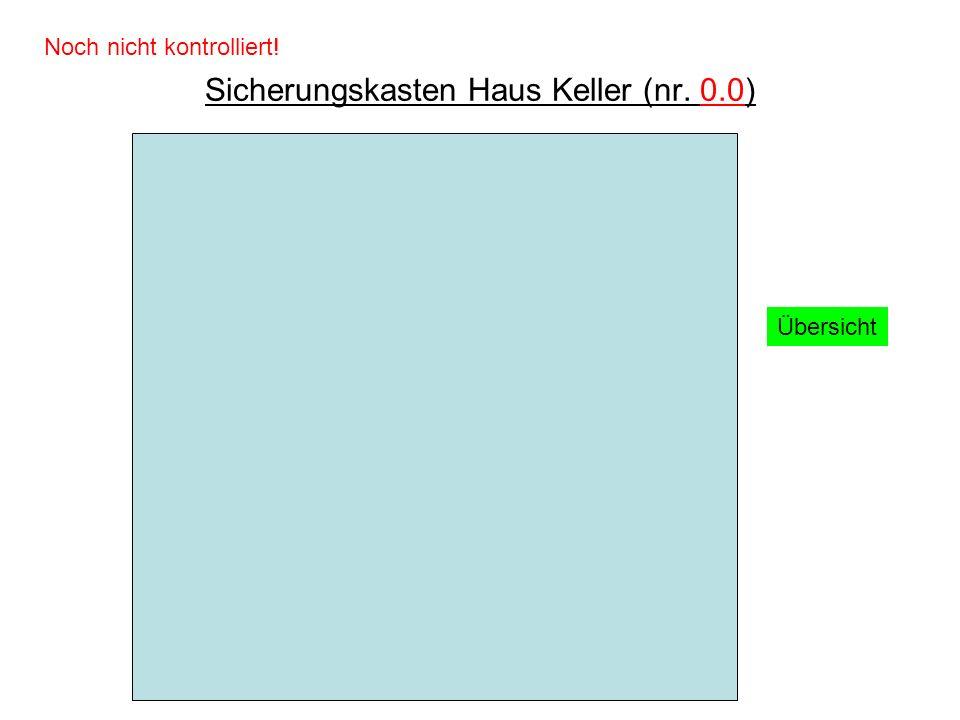 Sicherungskasten Haus Keller (nr. 0.0) Übersicht Noch nicht kontrolliert!