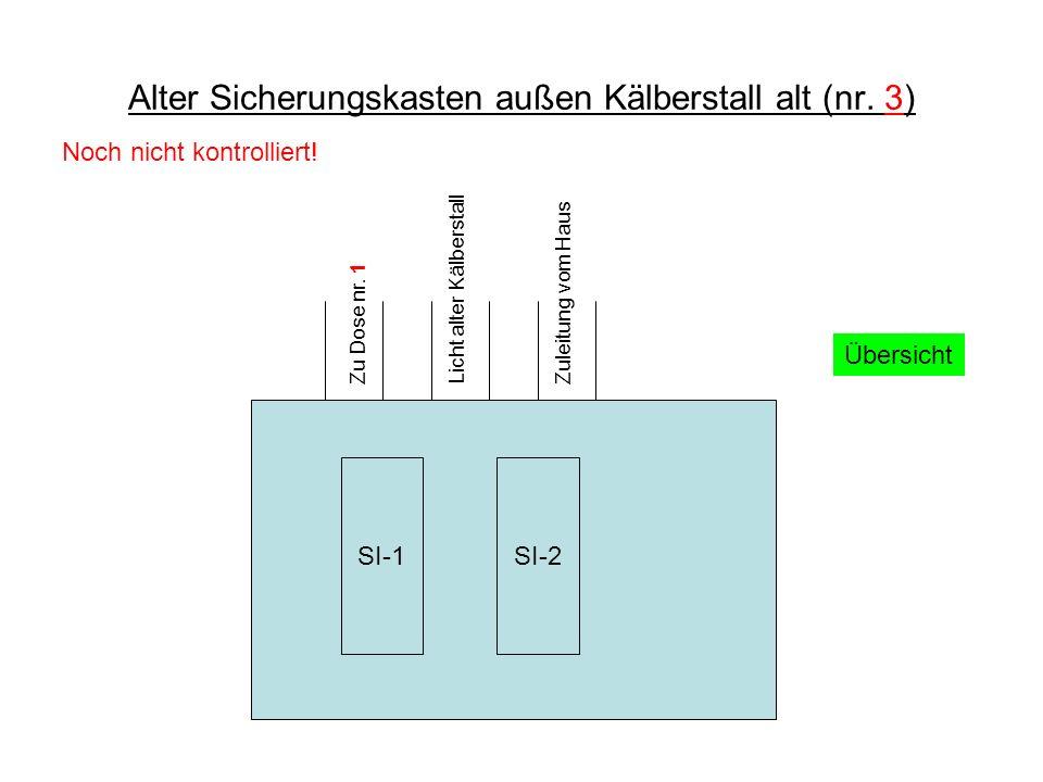 Alter Sicherungskasten außen Kälberstall alt (nr.3) Übersicht Zuleitung vom Haus Zu Dose nr.