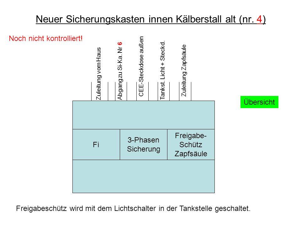 Neuer Sicherungskasten innen Kälberstall alt (nr.4) Zuleitung vom HausAbgang zu Si-Ka.