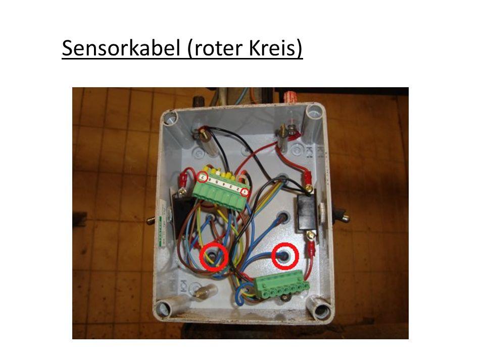 Sensor für Abnahme. Zum einstellen Schutzkappe abziehen.
