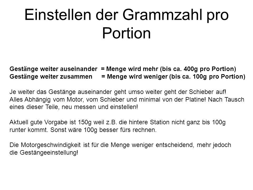 Einstellen der Grammzahl pro Portion Gestänge weiter auseinander = Menge wird mehr (bis ca. 400g pro Portion) Gestänge weiter zusammen = Menge wird we