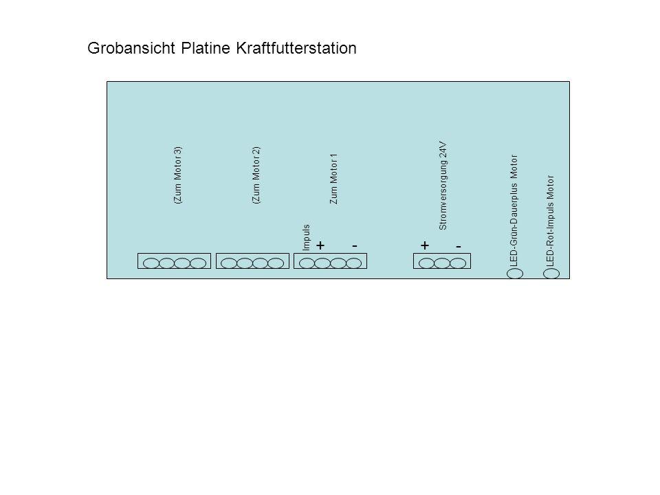 Grobansicht Platine Kraftfutterstation Stromversorgung 24V +- Zum Motor 1(Zum Motor 2) (Zum Motor 3) - + Impuls LED-Grün-Dauerplus MotorLED-Rot-Impuls