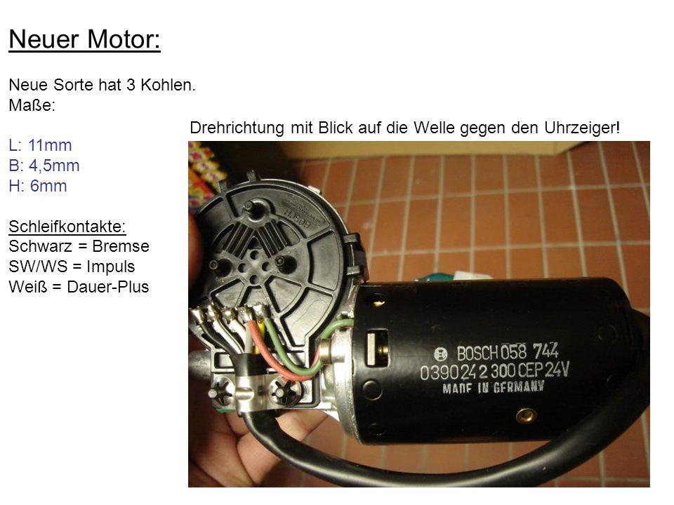 Neuer Motor: Neue Sorte hat 3 Kohlen. Maße: L: 11mm B: 4,5mm H: 6mm Schleifkontakte: Schwarz = Bremse SW/WS = Impuls Weiß = Dauer-Plus Drehrichtung mi