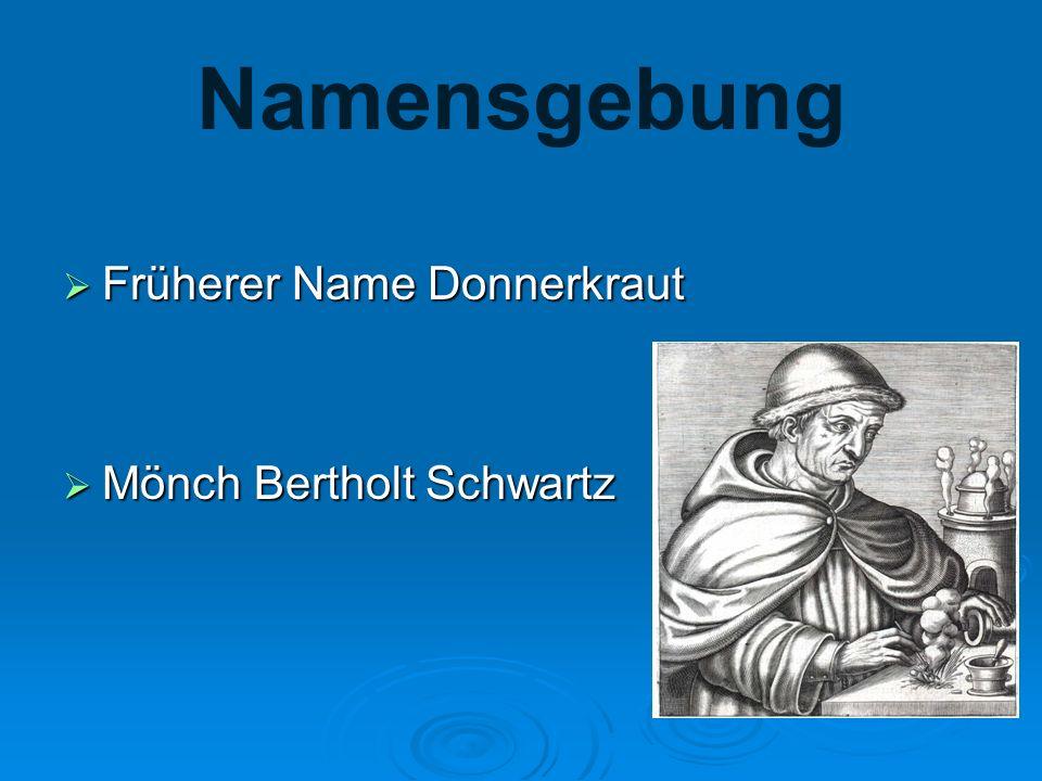 Namensgebung Früherer Name Donnerkraut Früherer Name Donnerkraut Mönch Bertholt Schwartz Mönch Bertholt Schwartz