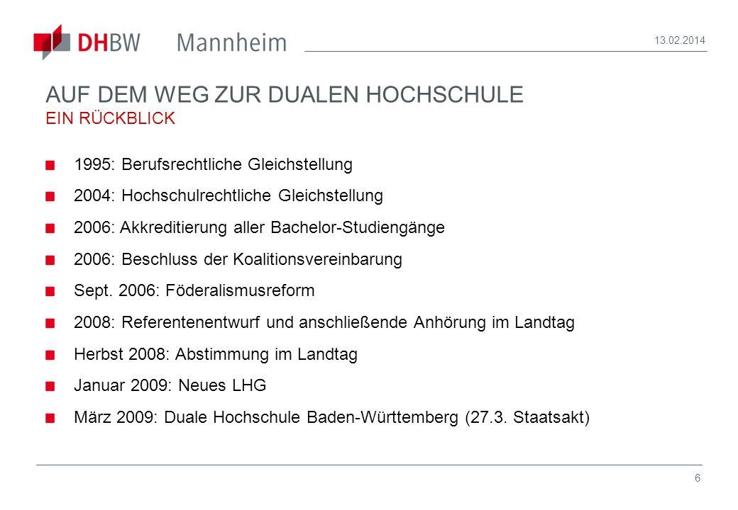 7 13.02.2014 DUALE HOCHSCHULE BADEN-WÜRTTEMBERG MANNHEIM ANZAHL DER PARTNERUNTERNEHMEN 1980 1985 1990 1995 2000 2005 1975 2009: ca.