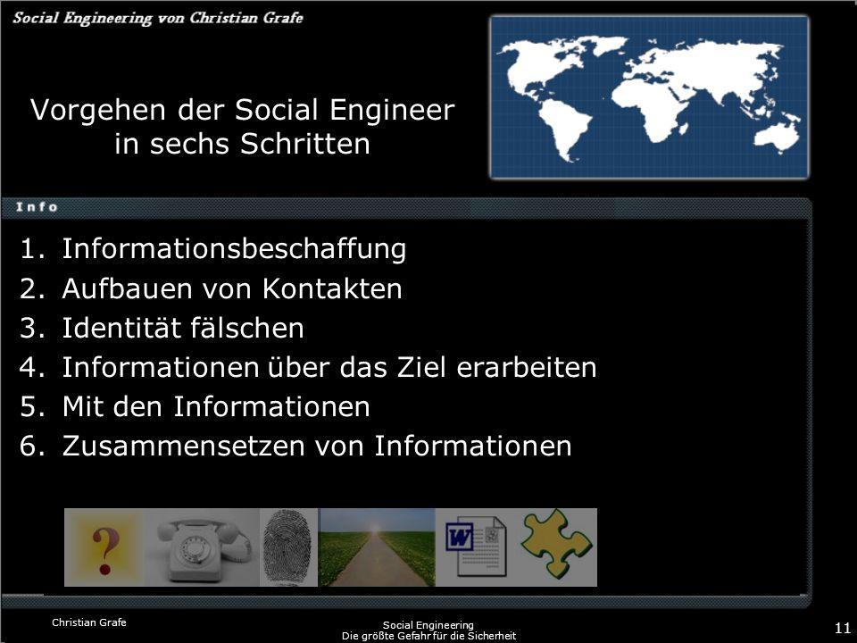 Christian Grafe Social Engineering Die größte Gefahr für die Sicherheit 11 Vorgehen der Social Engineer in sechs Schritten 1.Informationsbeschaffung 2