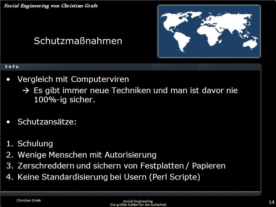 Christian Grafe Social Engineering Die größte Gefahr für die Sicherheit 14 Schutzmaßnahmen Vergleich mit Computerviren Es gibt immer neue Techniken un