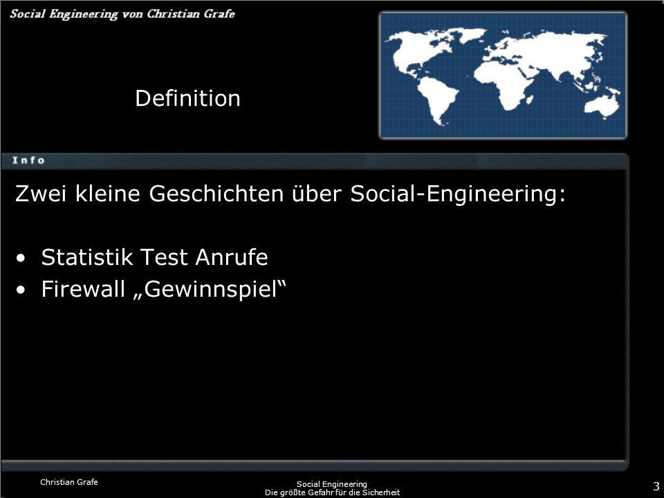 Christian Grafe Social Engineering Die größte Gefahr für die Sicherheit 3 Definition Zwei kleine Geschichten über Social-Engineering: Statistik Test A
