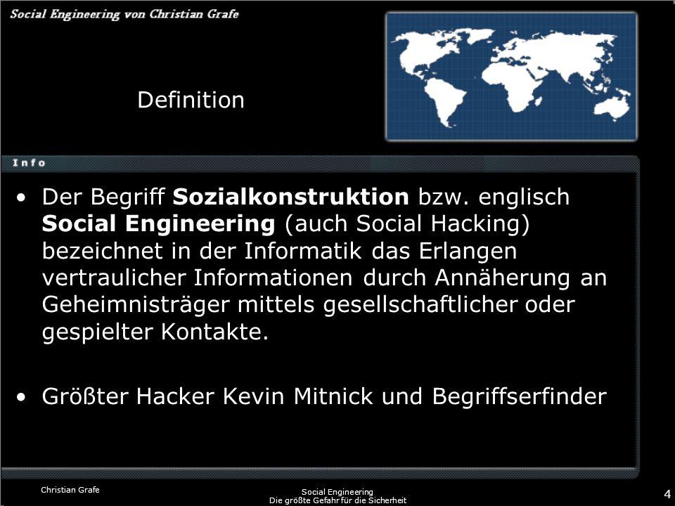 Christian Grafe Social Engineering Die größte Gefahr für die Sicherheit 4 Definition Der Begriff Sozialkonstruktion bzw. englisch Social Engineering (