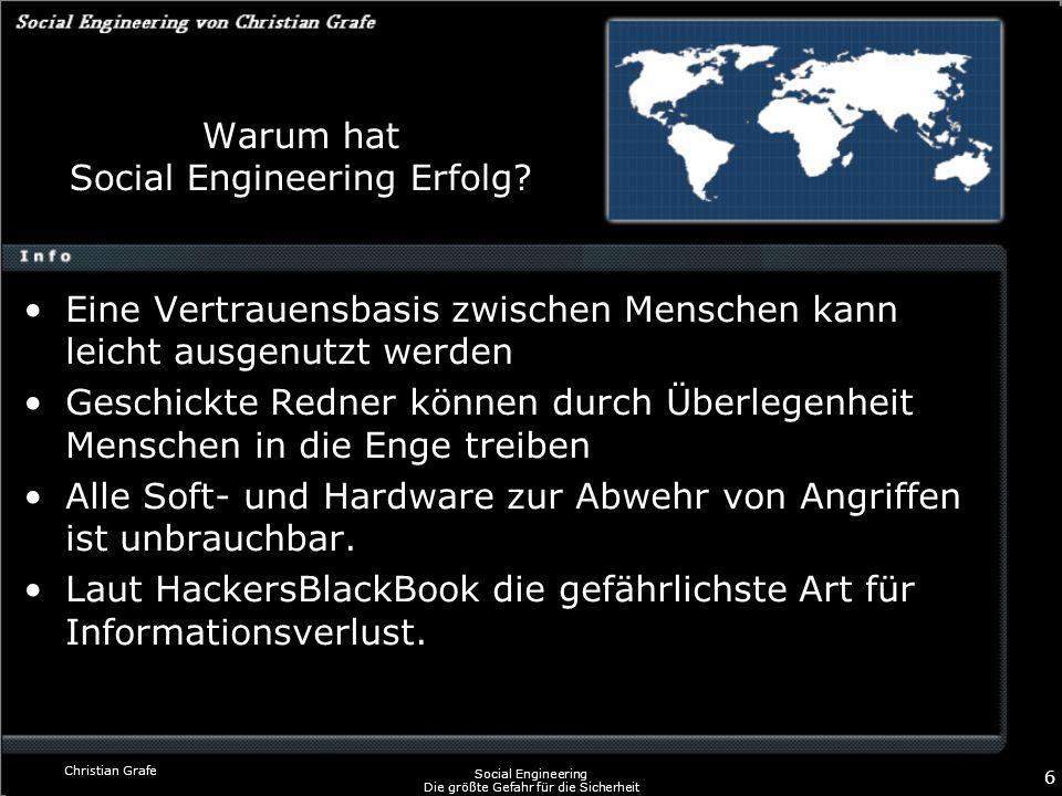 Christian Grafe Social Engineering Die größte Gefahr für die Sicherheit 6 Warum hat Social Engineering Erfolg? Eine Vertrauensbasis zwischen Menschen
