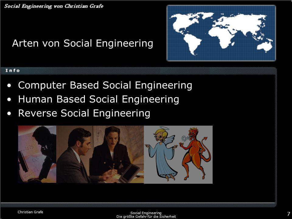 Christian Grafe Social Engineering Die größte Gefahr für die Sicherheit 7 Arten von Social Engineering Computer Based Social Engineering Human Based S