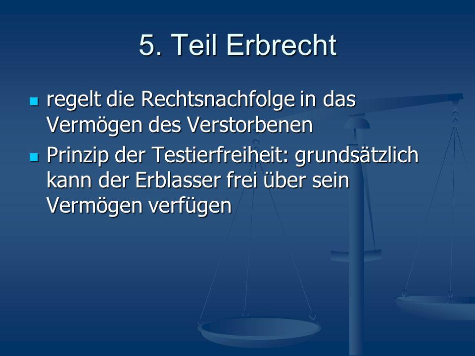 5. Teil Erbrecht regelt die Rechtsnachfolge in das Vermögen des Verstorbenen regelt die Rechtsnachfolge in das Vermögen des Verstorbenen Prinzip der T