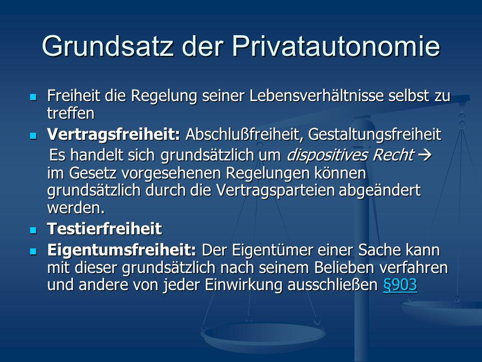 Grundsatz der Privatautonomie Freiheit die Regelung seiner Lebensverhältnisse selbst zu treffen Freiheit die Regelung seiner Lebensverhältnisse selbst