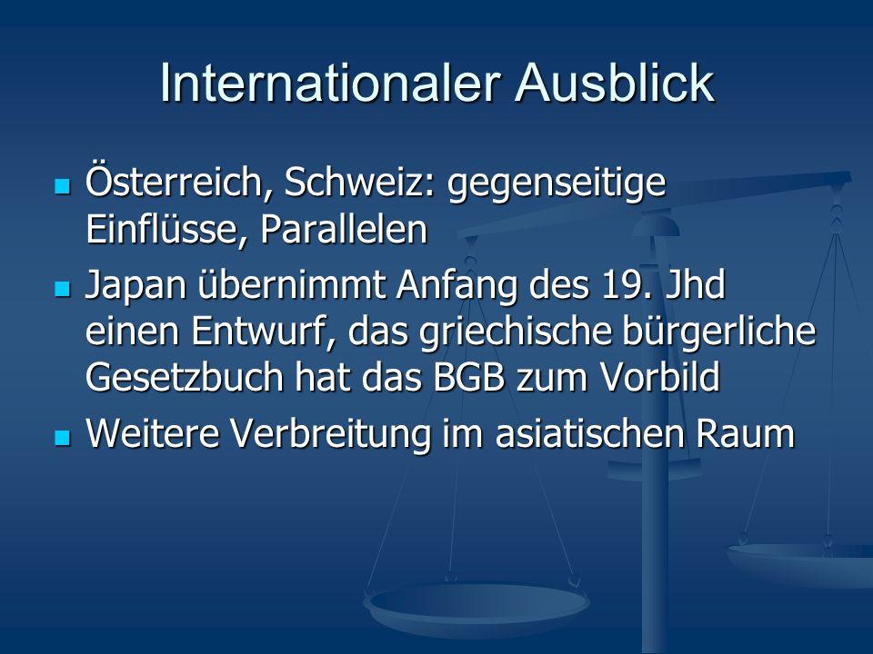 Internationaler Ausblick Österreich, Schweiz: gegenseitige Einflüsse, Parallelen Österreich, Schweiz: gegenseitige Einflüsse, Parallelen Japan übernim