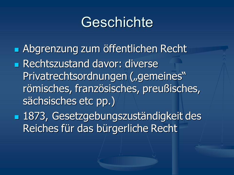 Geschichte Abgrenzung zum öffentlichen Recht Abgrenzung zum öffentlichen Recht Rechtszustand davor: diverse Privatrechtsordnungen (gemeines römisches,